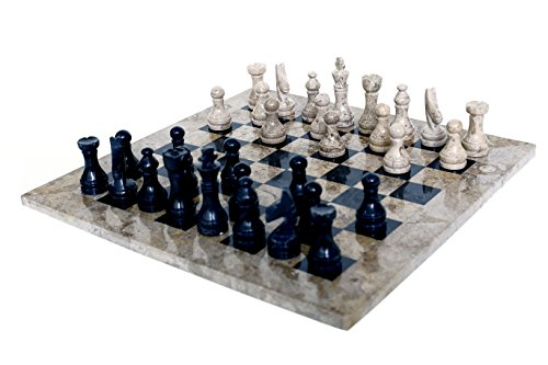 RADICALn 16 Inches Handmade Fossil Coral and Black Marble Full Chess Game Original Marble Chess Set ()