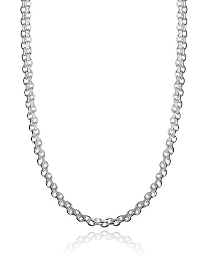 Italian 925 Sterling Silver 3mm Bismark Chain - 16, 18, 20, 22, 24, 30 Inches (30)