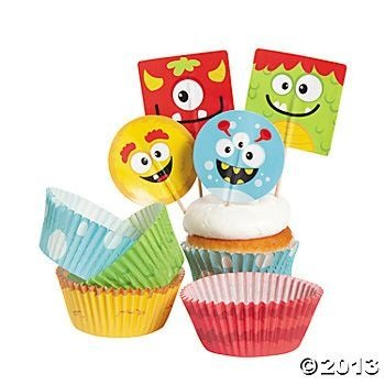 Cute Halloween Cupcakes (Bakery Supplies - Silly Monster Cupcake Picks and Baking Cups (1-Pack of 100))