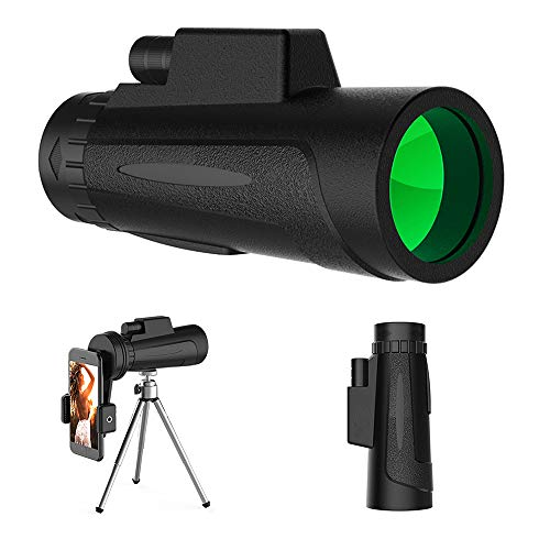 eiAmz Monocular, 10X50 HD Monocular Telescope with Phone Clip and Tripod, Waterproof Phone Telescope Night Vision, Bird Watching,Wildlife,Traveling,Concert,Sports Game,Gifts for Adults