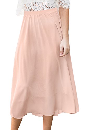 For G and PL Womens Elastic Waist Chiffon Solid Color Swing Flowy Flared Loose Casual Midi Skirt Pink XL by For G and PL (Image #3)