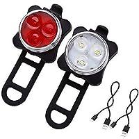 Mangetal LED Fahrradlicht Set USB Aufladbar Wasserdicht Fahrradlampe Set, LED Fahrradlampe Fahrradbeleuchtung Frontlicht und Rücklicht (Two Piece)