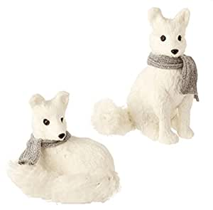 "12"" Snowy Time Glittered Laying White Fox Christmas Table Top Decoration"