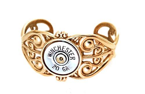 Bronze Filigree Adjustable Cuff Bracelet for Women with 20 gauge Recycled Shotgun Shell Gun Bullet Accent