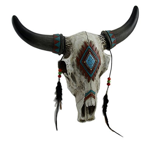 DeLeon Collections Rustic Southwest Bull Skull with Feathers, Beads & Faux Turquoise Stone - Wall -