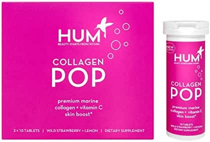 HUM Collagen Pop - Marine Collagen Drink with Vitamin C, Dissolvable Collagen Tablets for Skin Beauty Boost (30 Fizzy Tablets)
