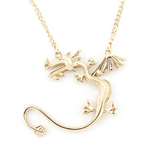 [Bright Gold Tone Cool Fly Dragon Pendant Necklace] (Fly Costumes)