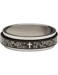 """<span class=""""a-offscreen"""">[Sponsored]</span>Unbranded Women's Lords Prayer W Cross Black & Silver Stainless Steel Spinner 1/8"""" Ring"""