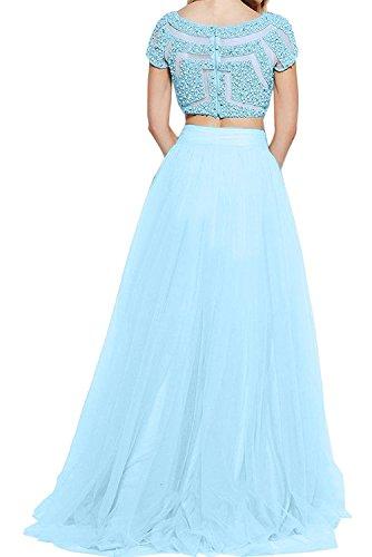 Braut Zwei Marie Damen Prinzess Linie A Abschlussballkleider teilig Abendkleider Blau Pailletten Pink La Promkleider fI6qw55