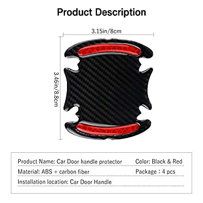 Car Door Cup Handle Paint Scratch Protector Sticker 3D Carbon Fiber Universal Auto Door Handle Scratch Protection Cover Guard Film Car Door Handle Safety Reflective Strips (Red, 4 Pcs): Automotive