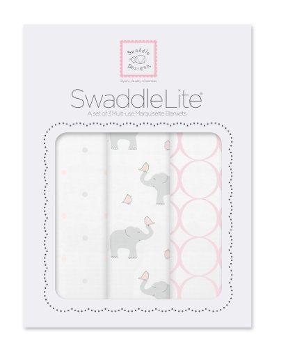 SwaddleDesigns SwaddleLite Marquisette Blankets Elephants