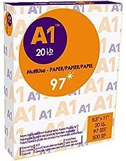 A1 Premier Multipurpose Paper, Copy/Copier/Laserjet Inkjet Printer/Fax/Photocopy Paper, 97 Brightness, 20 lb, Letter Size 8.5''x11'' (8-1/2 x 11), 500 Sheets/Ream