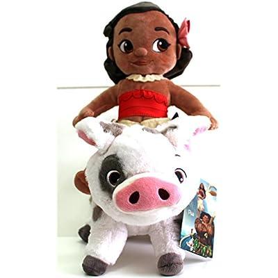 Disney Moana & Pua, Plush Toys Animators Collection - Moana is 12 inches Tall - Pua is 7inches Tall and 10 inches Long - Genuine, Original, Authentic, Store: Toys & Games