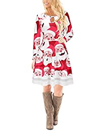 Wicky LS Women's Christmas Print Series Long Sleeve Prom Dress