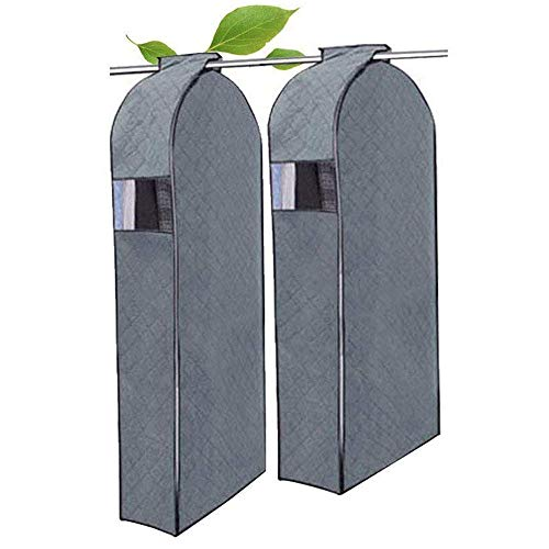 HOMEYA Garment Covers Zipper Bag, 2 Pcs Breathable Bamboo Charcoal Wardrobe Closet Clothing Organizer Portable Protection Cloth Hanging Bag for Suit - S (Small)