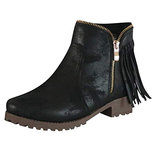 Womens Ankle Boots,ONLY TOP Retro Western Block Heel Bootie Zipper Tassel Accent Shoes Cowboy Bootie Black