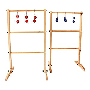 Sports Festival Premium Wooden Ladder Golf Ball Toss Game Set with 6 Bolas and Carrying Case Outdoor Back Yard Games for Family Reunion Ladderball Fun