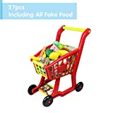 Nuheby Toy Trolley Children Shopping Cart Supermarket Trolley Play Set with 27pcs Toy Fruit&Toy Vegetables Pretend Play Toy Shopping Basket with Rolling Wheels for Boys Girls 3 4 5 Years Old