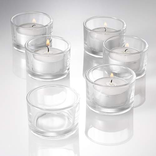 Set of 12 Clear Glass Tealight Candle Holders KitchenCentre UK_1120_12