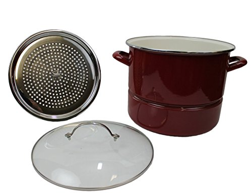 Kitchen Collection Red 16 Quart Enamel Stock Pot With Ste...