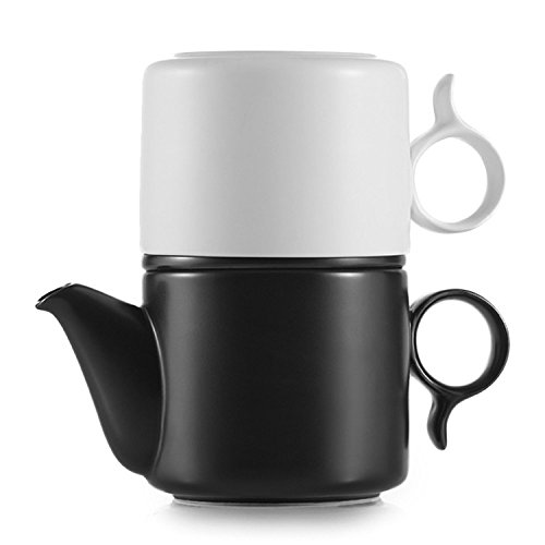 ZENS Large Creative Loose Leaf Gong-Fu Ceramic Porcelain Stacked Coffee Pot Cup Saucer Teapot Set with Stainless Steel Infuser 8oz/250ml (250ml Teapot compare prices)