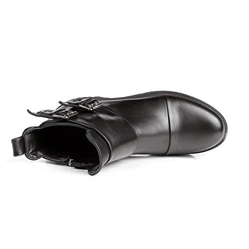 Amoonyfashion Dames Stevige Lage Hakken Ronde Gesloten Teen Gemixte Materiaal Rits Laarzen Zwart