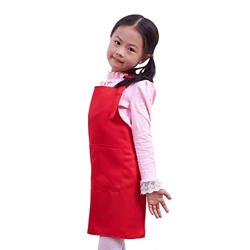 Fantastic_008 Children's Aprons Baby Girl Boy Aprons Kitchen Garden Aprons For Painting Cleaning (Red)
