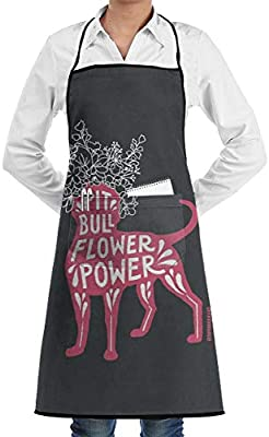 Ameok-Design Pit Bull Flower Power - Delantal de Cocina Unisex con ...