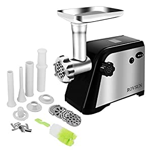 ROVSUN Electric Meat Grinder,Size #8 800W Stainless Steel Meat Machine Sausage Stuffer,1.2HP Meat Mincer with 4 Cutting Plates 3 Sausage Tubes 2 Blades Kibbe Attachment and Brush,ETL listed(Black)