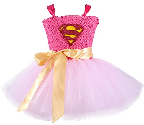 Tutu Dreams Superhero Costumes for Girls Birthday Christmas Party Plus Size 6-8Y (XL, Pink)