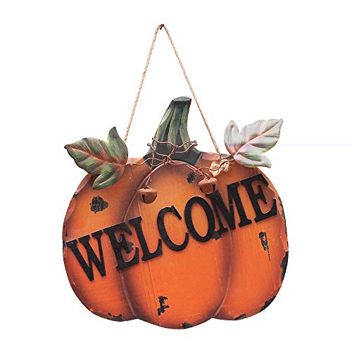 YK Decor Decorative Welcome Pumpkin Sign Wood Wall Décor Autumn Fall Harvest Halloween Thanksgiving Country Decoration with Jute Hanging (Pumpkin Welcome Sign)