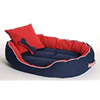 PetsHub's Elite Dog/CAT Bed Ultra Soft Red & Blue Reversible with 2 Extra Pillows (Export Quality)-XXL