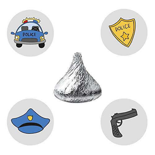 MAGJUCHE Police Party Candy Stickers, Boy or Girl Birthday Party Favor Labels, Fit Hershey's Kisses, 304 Count by MAGJUCHE
