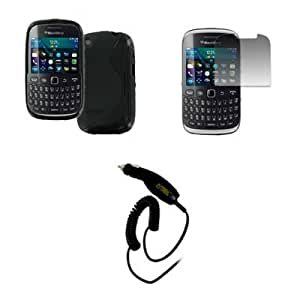 EMPIRE BlackBerry Curve 9220 Poly Skin Case Cover, Black S-Shape + Invisible Screen Protector + Car Charger