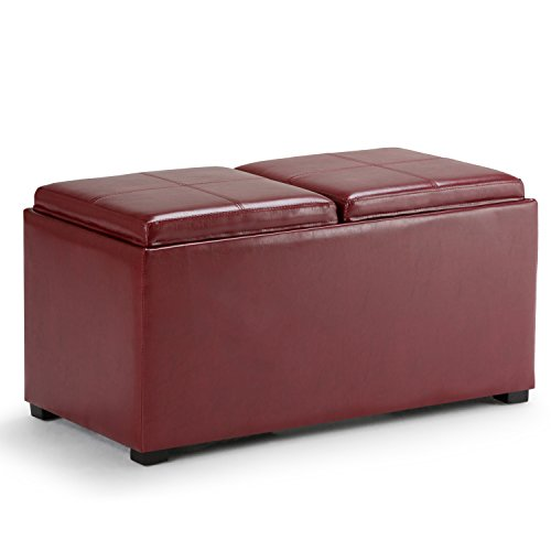 Simpli Home AY-F-15B-RRD Avalon 35 inch Wide Contemporary Rectangle 5 Pc Storage Ottoman in Radicchio Red Faux Leather