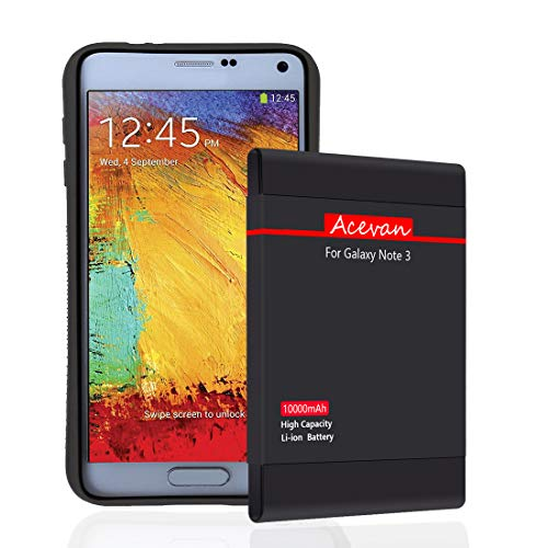 Note 3 Battery Acevan 10000mAh Extended Battery Replacement for Samsung Galaxy Note 3 N900, Verizon N900V, Sprint N900P, T-Mobile N900T, AT&T N900A, N9005 LTE with NFC (Best Extended Battery For Galaxy Note 3)