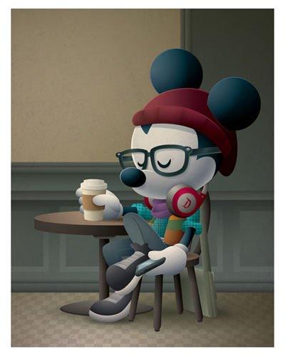 Cafe Postcard (Disney WonderGround Gallery Cafe Hipster Mickey Postcard by Jerrod Maruyama)