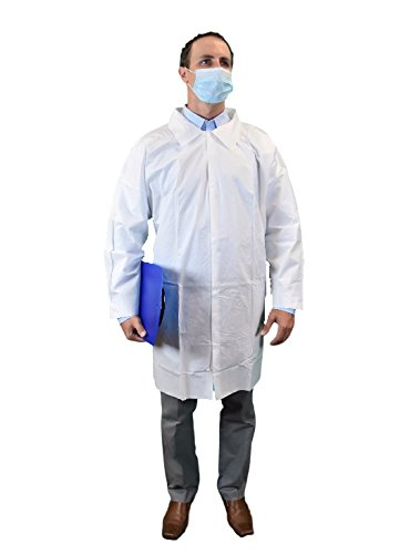 Keystone LC0-WO-KG-LRG Key guard Lab Coat, No Pocket, Open Wrists, Snap Front, Single Collar, Large, White (Pack of 30)