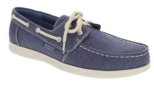 London Fog Mens Harrow Boat Shoe Navy/Denim 8.5]()