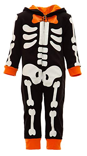 Funstuff Toddler Boys' Fleece Skeleton Costume Coverall with Hood -
