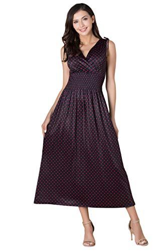 (Le Vonfort Womens Spring Summer Vneck Sleeveless Smocked Waist Casual Beach Faux Wrap Maxi Dress Black Red Polka Dot S)