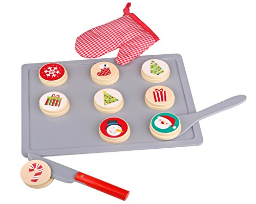 Pidoko Kids Christmas Cookies Tray and Pretend Food Play Set - Christmas Themed Holidays Gift Baking Toy Set (22 Pieces Accessories) - Slice and Bake with your new Kitchen Helper