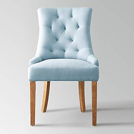 M 016 Chaise en Tissu Bleu et Bois Angelina: