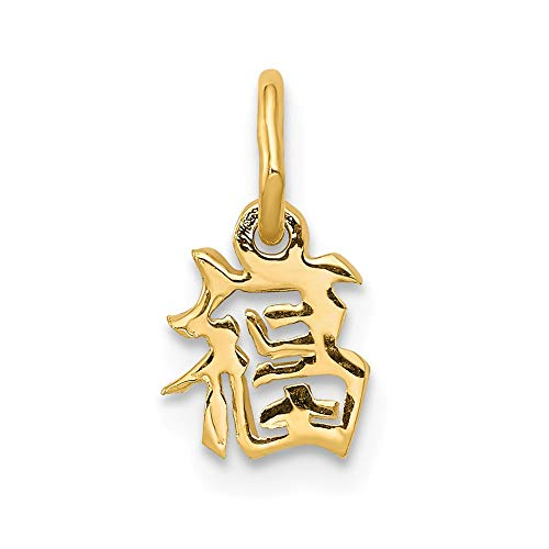 14k Yellow Gold Chinese Symbol Good Luck Pendant Charm Necklace Italian Horn Fine Jewelry Gifts For Women For Her (Charm Italian Character Chinese)