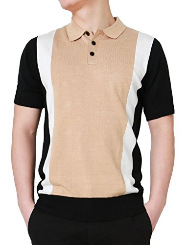 uxcell Men Color Block Paneled Knitted Cotton Short Sleeves Golf Polo Shirts White Beige Black L (US 44)