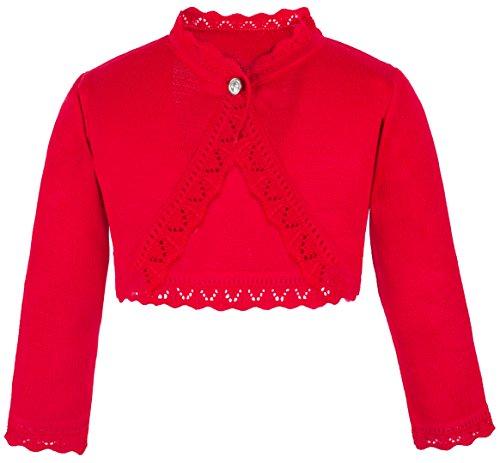 Lilax Little Girls' Knit Long Sleeve Button Closure Bolero Cardigan Shrug 5T Red