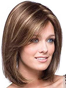 Womens Gold Shoulder Length Straight Synthetic Medium Wig For Woman