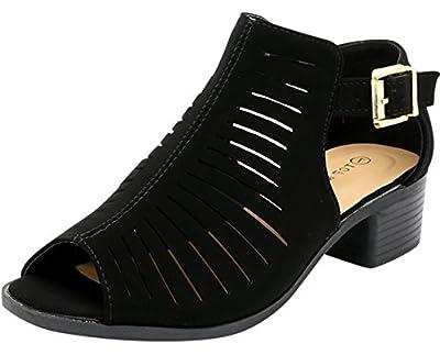 TOP Moda Jerry-20 Women's Fashion Open Toe Ankle Strap Buckle Low Chunky Heel Sandal Shoes