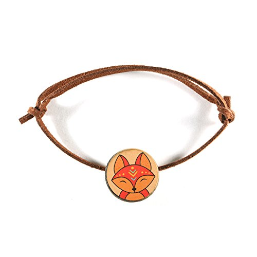 RedCube Fox Charm Lucky Bracelet Faux Suede Cord Wooden Totem Animal Pendant Wristband (Fox) - Faux Suede Pendant