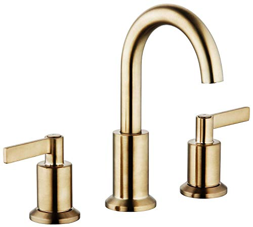 (Derengge LFS-0188-CS 8'' Two Handle Widespread Bathroom Faucet with Pop up Drain, Meets UPC cUPC NSF AB1953 Lead Free, French Brushed Bronze Finished, Brushed Gold Finished )